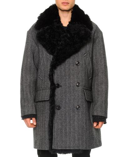 Herringbone Shearling Double-Breasted Coat
