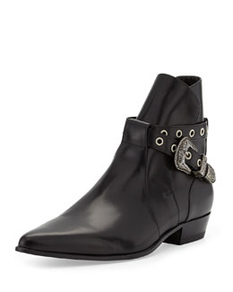 Saint Laurent Duckies Belt-Detail Leather Boot, Black