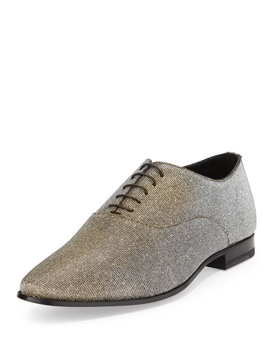 Saint Laurent Lulu Richelieu Oxford Shoe, Metallic