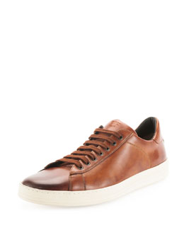 Tom Ford Russel Calf Leather Low-Top Sneaker, Light Brown