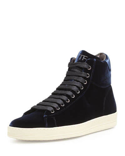 Tom Ford Russel Velvet High-Top Sneaker, Navy