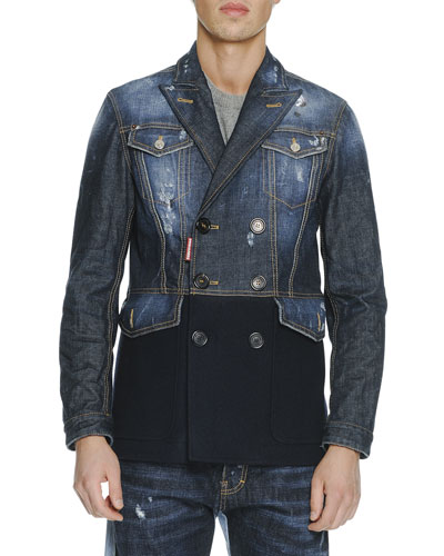 D Squared Mix-Media Double-Breasted Jacket