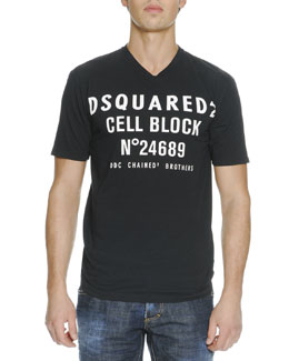 D Squared Cell Block Slogan Short-Sleeve Tee
