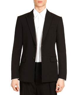 Givenchy Two-Button Evening Jacket with Satin Trim, Black/Brown