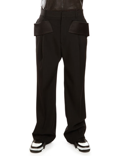 Givenchy Wide-Leg Wool Trousers with Satin Trim, Black