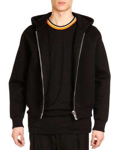 Neoprene Big-Zipper Hoodie, Black