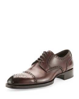 Tom Ford Edward Med-Cap Wing-Tip Brogue, Brown