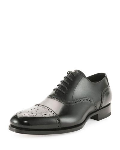 Charles Cap-Toe Oxford Shoe, Black
