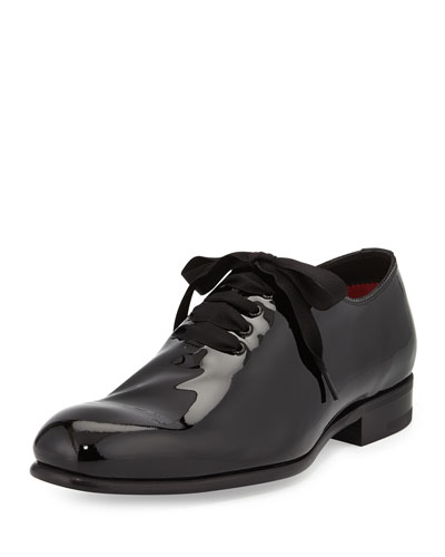 Tom Ford Charles Patent Lace-Bow Shoes, Black