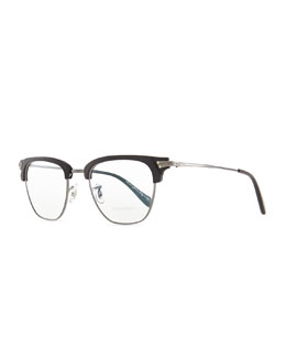 Oliver Peoples Banks Half-Rim Men's Fashion Glasses, Black