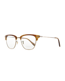 Oliver Peoples Banks Half-Rim Men's Fashion Glasses, Brown