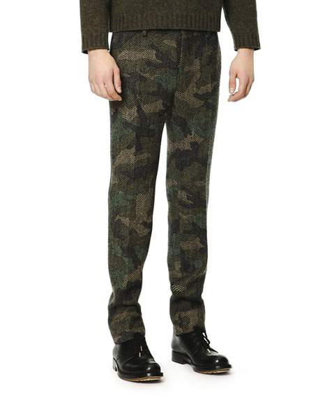 Camo/Herringbone Wool Trousers