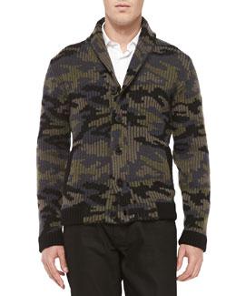Valentino Camo Shaw-Collar Sweater