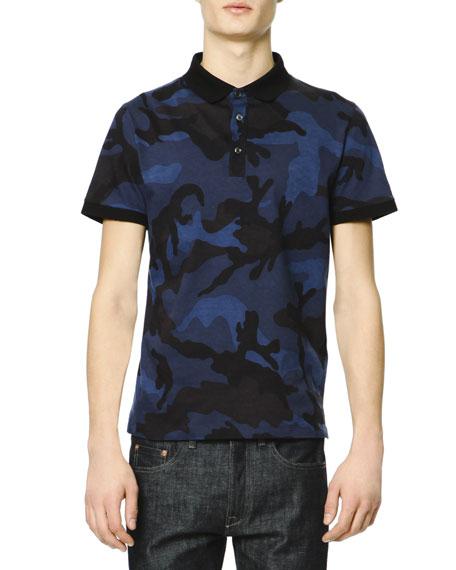 Valentino short sleeve camo polo shirt navy royal blue for Camo polo shirts for men