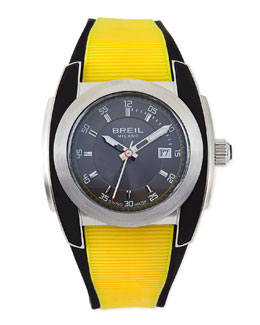 Breil Mediterraneo Rubber-Strap Watch, Yellow