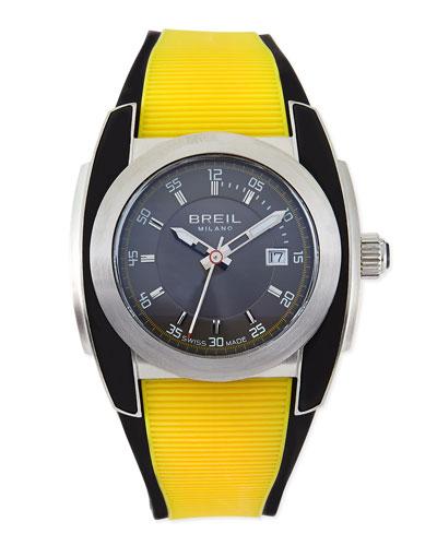 Breil Mediterraneo Rubber-Strap Watch, Yellow