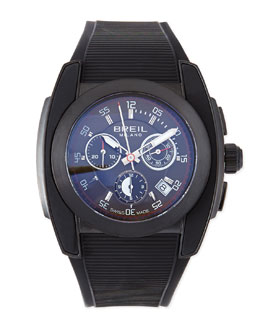 Breil Mediterraneo Rubber-Strap Watch, Black