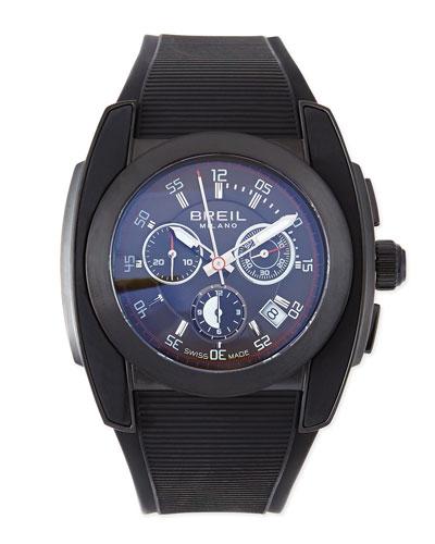 Breil Mediterraneo Rubber-Strap Watch, Black