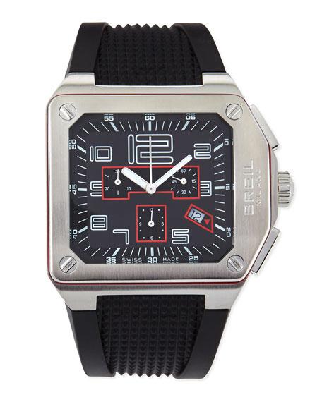 Logo Chronograph Black-Dial Watch
