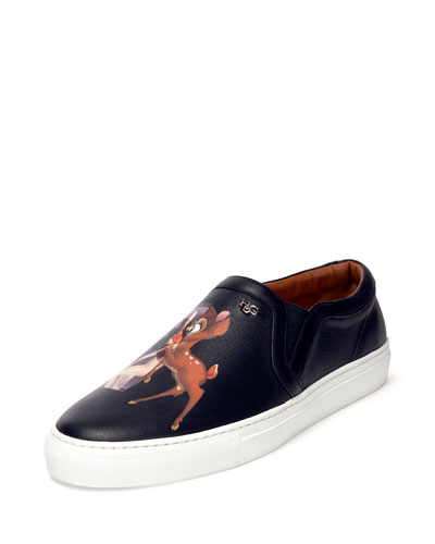 Givenchy Bambi-Print Leather Skate Shoe, Black