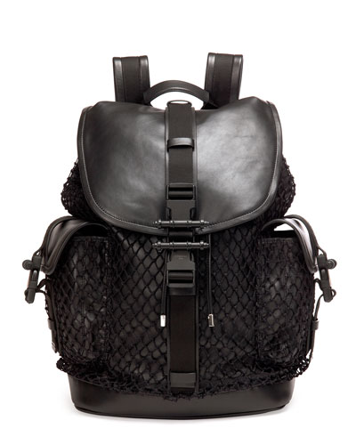 Obsedia Netted Leather Backpack, Black