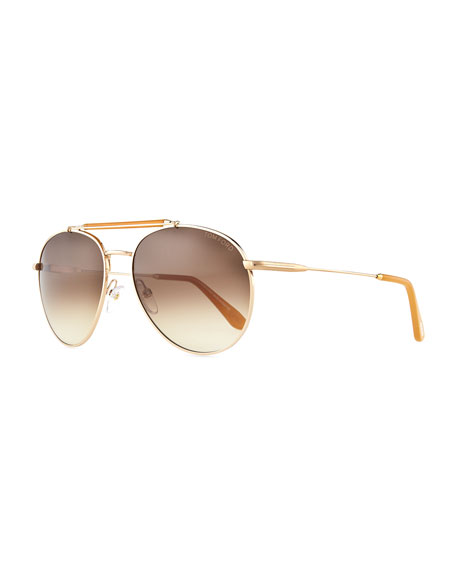 Colin Round Aviator Sunglasses, Rose Gold