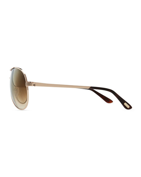 Charles Metal Aviator Sunglasses, Rose Gold