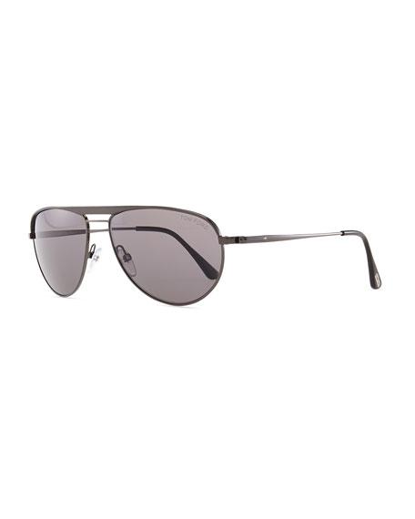 William Metal Aviator Sunglasses, Gray