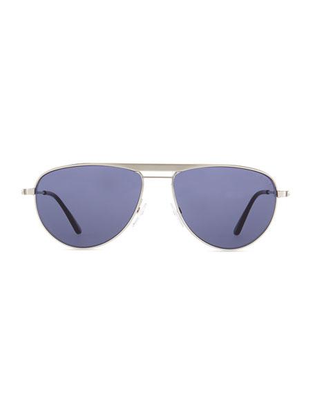 William Metal Aviator Sunglasses, Silver