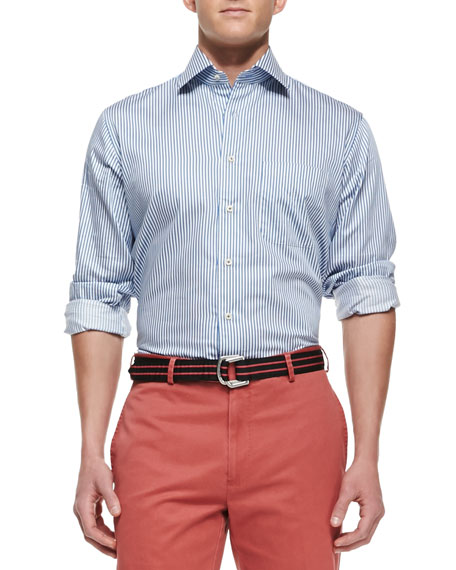 Peter Millar Blue Bengal-Stripe Dress Shirt, Navy