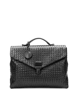 Bottega Veneta Men's Small Woven Leather Briefcase, Black