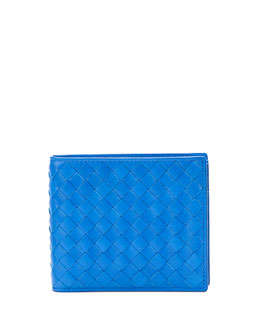 Bottega Veneta Basic Woven Wallet, Electric Blue