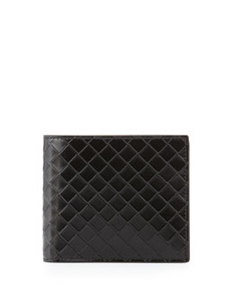 Bottega Veneta Sculpito Leather Wallet, Black