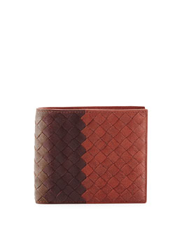 Bottega Veneta Tricolor Intrecciato Leather Wallet