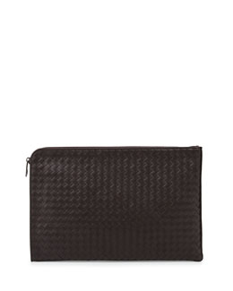 Bottega Veneta Woven Leather Portfolio Case, Brown