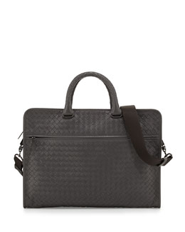 Bottega Veneta Soft Slim Woven Briefcase, Light Gray