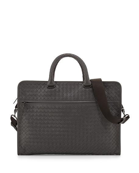 Bottega Veneta Soft Slim Woven Briefcase, Light Gray