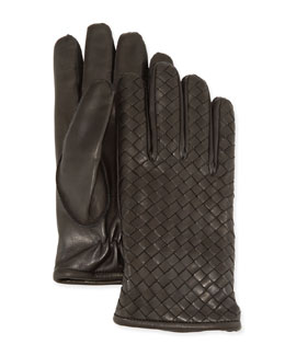 Bottega Veneta Men's Woven Leather Gloves, Gray