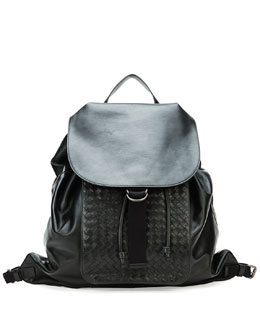 Bottega Veneta Men's Woven Leather Backpack, Black