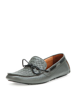 Bottega Veneta Woven Leather Driver, Gray