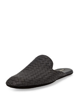 Bottega Veneta Men's Woven Leather Scuff Slipper