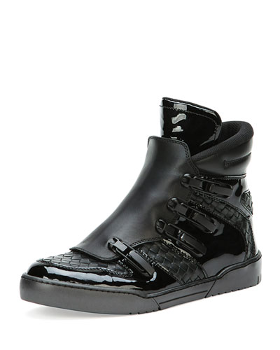 Bottega Veneta Woven High-Top Sneaker with Ski Closure, Black