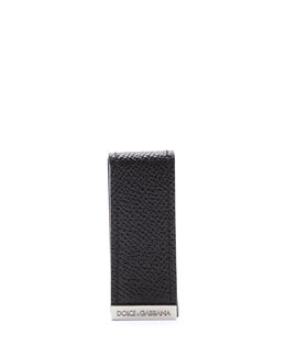 Dolce & Gabbana Pebbled Leather Money Clip, Black