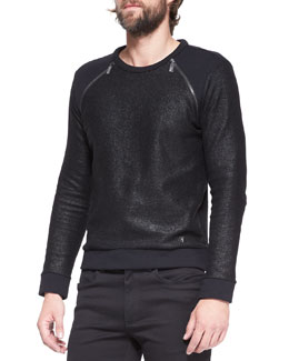 Versace Collection Zipper-Detail Metallic Pullover, Black