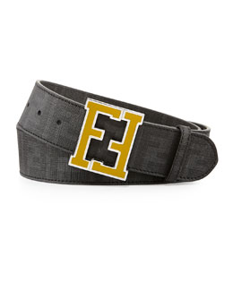 Fendi Men's Zucca College Belt, Black