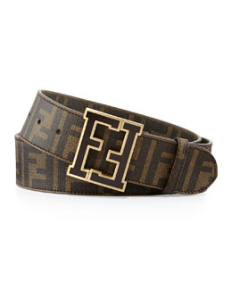 Fendi Men's Zucca College Belt, Brown