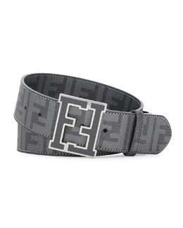 Fendi Zucca College Brown Belt, Dark Gray