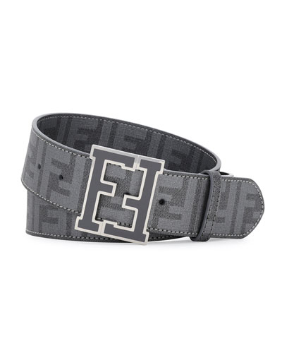 Fendi Zucca College Belt, Dark Gray