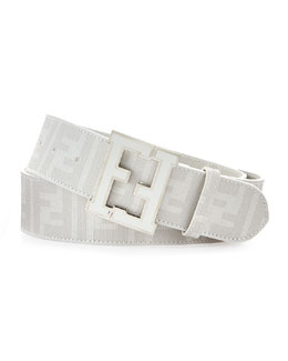 Fendi Men's Zucca College Belt, White Palladium