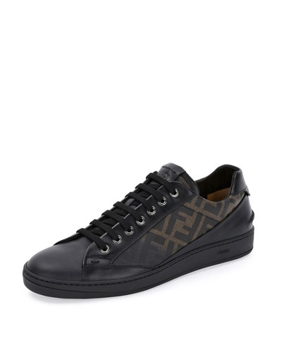 Fendi Zucca Leather Low-Top Sneaker, Tobacco/Black